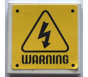 """LEGO Tile 2 x 2 with """"WARNING"""" Triangle and Electrical Symbol Sticker with Groove (3068)"""