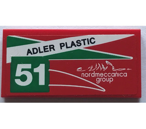 "LEGO Tile 2 x 4 with ""ADLER PLASTIC"" and ""51"" - Left Sticker (38879)"
