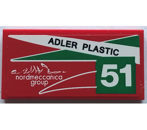 "LEGO Tile 2 x 4 with ""ADLER PLASTIC"" and ""51"" - Right Sticker (38879)"