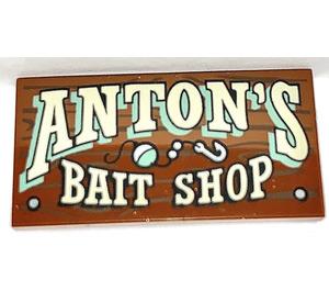 LEGO Tile 2 x 4 with Antons's Bait Shop (35765 / 71150)