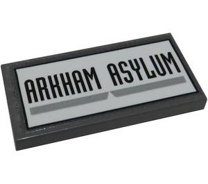 LEGO Tile 2 x 4 with 'ARKHAM ASYLUM' Sticker (38879)