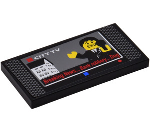 LEGO Tile 2 x 4 with 'Breaking News Bank Robbery Dog' Television Screen Sticker from Set 7288 (87079)