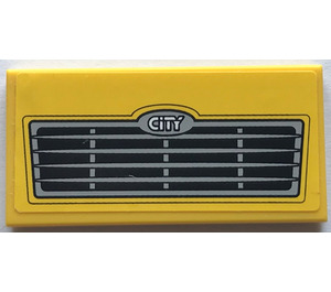 """LEGO Tile 2 x 4 with """"CITY"""" and Grille Sticker (38879)"""