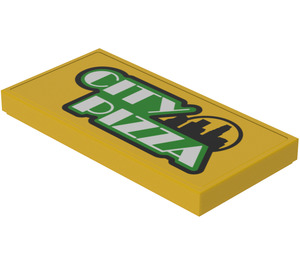 LEGO Tile 2 x 4 with 'CITY PIZZA' Decoration (Sticker) from Set 60150 (71150)