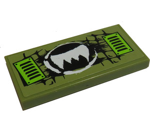 LEGO Tile 2 x 4 with Claw Ripper Logo and Lime Vents Sticker (87079)