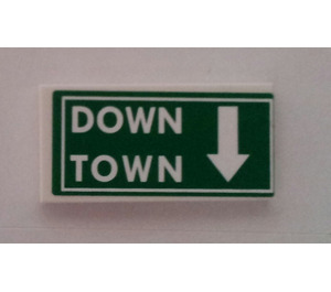 LEGO Tile 2 x 4 with 'DOWN TOWN' and White Arrow Sticker (87079)