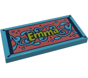 "LEGO Tile 2 x 4 with ""Emma"" on Floral Carpet (38879 / 56596)"