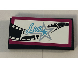 """LEGO Tile 2 x 4 with """"Livi"""" and background film reel Sticker (38879)"""