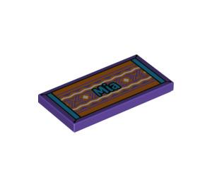 """LEGO Tile 2 x 4 with """"Mia"""" on Folk Carpet (38879 / 56593)"""
