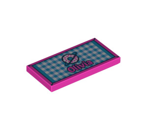 """LEGO Tile 2 x 4 with """"Olivia"""" and Donut on Checkered Carpet (38879 / 55599)"""