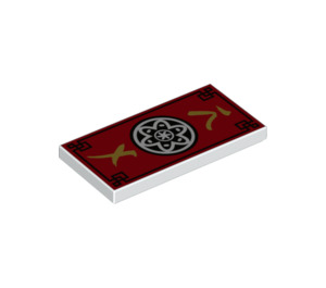 LEGO Tile 2 x 4 with Red, Black and Gold Ninjago Decoration (38879 / 45016)