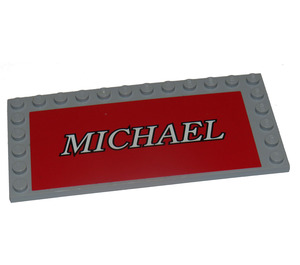 LEGO Tile 6 x 12 with Edge Studs with 'Michael' Sticker (6178)