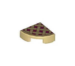 LEGO Tile Quarter Circle 1 x 1 with Lattice Pie Decoration (25269 / 26484)