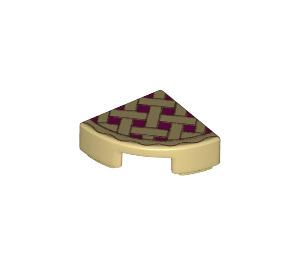 LEGO Tile Quarter Circle 1 x 1 with Lattice Pie Decoration (26484)