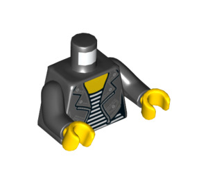 LEGO Torso Female Black Arms / Yellow Hands - Leather Jacket with Silver Snaps and Zipper over White Striped Shirt Print (973 / 76382)
