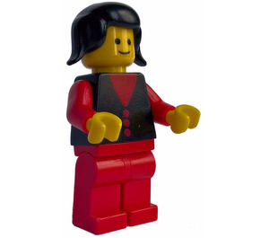 LEGO Town Lady with Black Vest and Three Red Buttons Minifigure