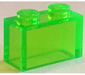 LEGO Transparent Bright Green Brick 1 x 2