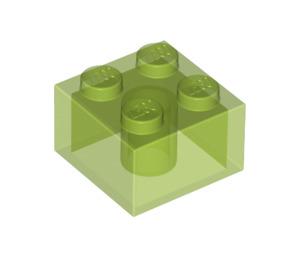 LEGO Transparent Bright Green Brick 2 x 2 (35275)