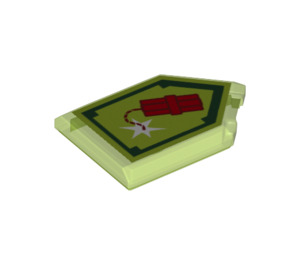 LEGO Transparent Bright Green Tile 2 x 3 Pentagonal with Dynamighty Power Shield (24589)