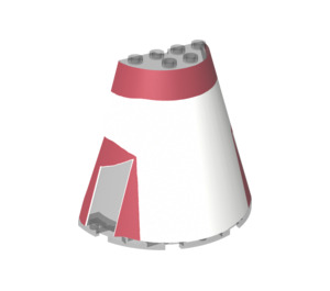 LEGO Transparent Cone 8 x 4 x 6 Half with Tantive IV Dark Red Stripes (87411)