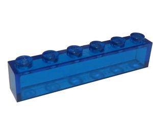 LEGO Transparent Dark Blue Brick 1 x 6 without Centre Studs