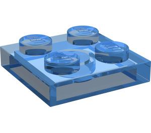 LEGO Transparent Dark Blue Plate 2 x 2 (3022)