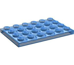 LEGO Transparent Dark Blue Plate 4 x 6 (3032)