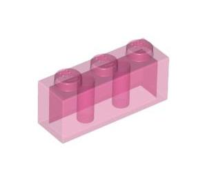 LEGO Transparent Dark Pink Brick 1 x 3 (3622 / 45505)