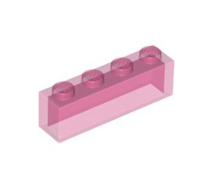 LEGO Transparent Dark Pink Brick 1 x 4 without Bottom Tubes (3066)