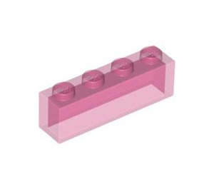 LEGO Transparent Dark Pink Brick 1 x 4 without Stud Bars (3066)