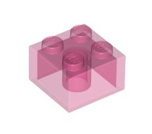LEGO Transparent Dark Pink Brick 2 x 2 (6223)