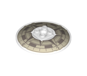 LEGO Transparent Dish 6 x 6 Inverted with Compass Decoration on Concave Side Solid Studs (39022 / 78193)