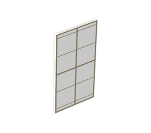 LEGO Transparent Glass for Window 1 x 4 x 6 with Gold Lattice over Frosted White Background (35330)