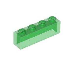 LEGO Transparent Green Brick 1 x 4 without Bottom Tubes (3066)
