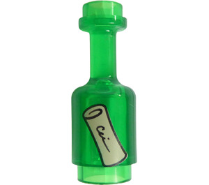 LEGO Transparent Green Minifig Bottle 1 x 1 x 2 with Message in a Bottle