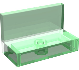 LEGO Transparent Green Panel 1 x 2 x 1 without Rounded Corners (30010)