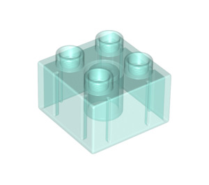 LEGO Transparent Light Blue Duplo Brick 2 x 2 (17556 / 20678)