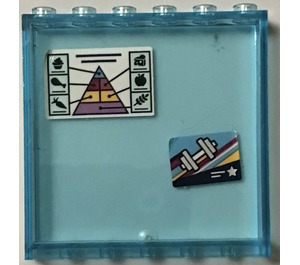 LEGO Transparent Light Blue Panel 1 x 6 x 5 with Pyramid and dumbbells Sticker