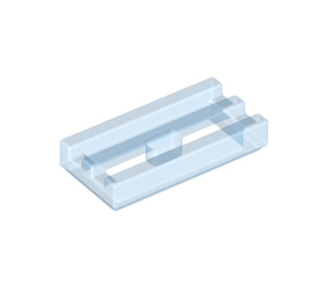 LEGO Transparent Medium Blue Tile 1 x 2 Grille (with Bottom Groove) (30244)