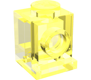 LEGO Transparent Neon Green Brick 1 x 1 with Headlight and No Slot