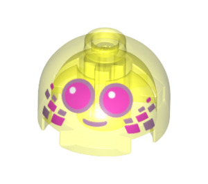 LEGO Transparent Neon Green Brick 2 x 2 Round with Dome Top with Decoration (Hollow Stud with Bottom Axle Holder x Shape + Orientation) (67197)