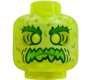 LEGO Transparent Neon Green Head (Recessed Solid Stud)