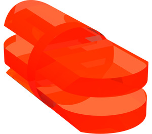 LEGO Transparent Neon Reddish Orange Arm Piece Straight with 2 and 3 Stubs