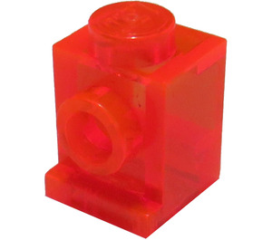 LEGO Transparent Neon Reddish Orange Brick 1 x 1 with Headlight and No Slot