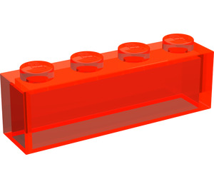 LEGO Transparent Neon Reddish Orange Brick 1 x 4 without Stud Bars (3066)