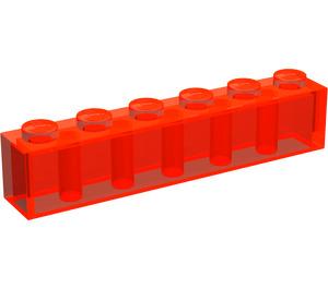 LEGO Transparent Neon Reddish Orange Brick 1 x 6 (3009)