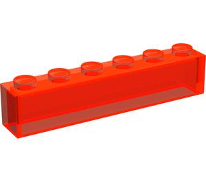 LEGO Transparent Neon Reddish Orange Brick 1 x 6 without Centre Studs (3067)