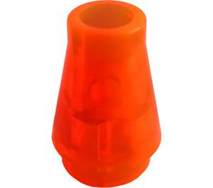 LEGO Transparent Neon Reddish Orange Cone 1 x 1 without Top Groove (4589 / 6188)