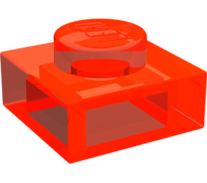 LEGO Transparent Neon Reddish Orange Plate 1 x 1 (30008)