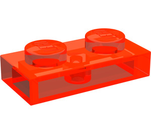 LEGO Transparent Neon Reddish Orange Plate 1 x 2